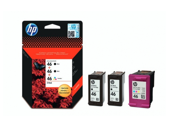 HP 46 3-pack 2xBlack + 1xColour F6T40AE
